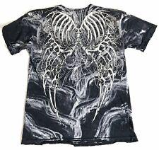 Men's Affliction Distressed Short Sleeve T Shirt Size Large Skull Bones USA Made