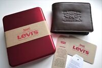 New LEVI'S Brown LEATHER & DENIM Billfold WALLET COIN POCKET IN GIFT TIN New