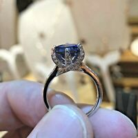 Sterling Silver Engagement Luxury Ring 3 Carat Blue Created Tanzanite Jewelry