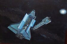 SPACE SHUTTLE UNLOADING A SATELLITE IN SPACE ORIGINAL OIL ON CANVAS PAINTING