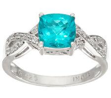 Cushion Cut Blue Apatite White Zircon Sterling Silver Ring Size 7 QVC $149