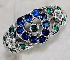 Blue Sapphire & Emerald 925 Sterling Silver Filigree Ring Jewelry Sz 7, F5-2