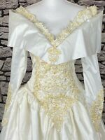 "DEMETRIOS VTG White Princess Wedding Gown Beads Sequins Lace Dress SZ 8 32"" Bust"