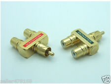 2x Gold Plated Copper 1 Male to 2 Female Video Audio Y Splitter RCA Adapter Plug