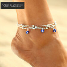 Silver + Blue Charms Ankle Bracelet Women Anklet Adjustable Chain Beach Jewelry