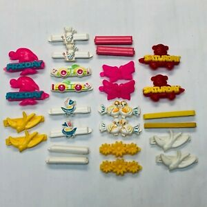 Vintage Girl's Barrettes Hair Accessory Lot Plastic Colorful Hair Clips 13 Pairs