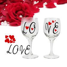 5pcs Valentine's Love & Hearts  Day Vinyl Decal Sticker DIY Glitter Wine Glass