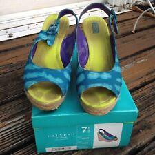 Calypso Target Wedge Sling Back Peep Toe Heels 7.5 Womens Sandals Shoes