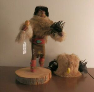 Natiive American Owl Kachina With Removable Mask (Signed)