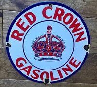 """Vintage Red Crown Gasoline Gas & Oil Porcelain Enamel Sign 12"""""""