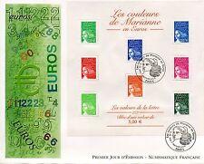 PREMIER JOUR / FDC / BLOC OBLITERE N° 45 MARIANNE EN EUROS PARIS 2002