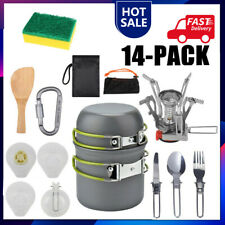 Portable Gas Camping Stove Butane Propane Burner Outdoor Hiking Picnic+Cookware