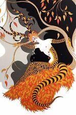 Erte 1982 AUTUMN SEASON Tiger Lady Under Tree Fall Leaves Art Deco Print Matted