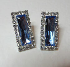 BEAUTIFUL ART DECO STYLE BLUE & CLEAR CRYSTAL CLIP EARRINGS SILVER PLATED