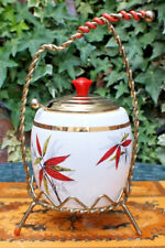Vintage Jam Pot - Made In Mayall England - Leaf Design. Stylish Metal Work.