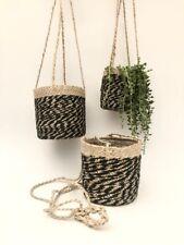 Cesto intrecciato da appendere piante giardino erbe Vaso di Fiori Foderato titolare naturale e nero