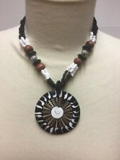 Chunky Shell Disk Necklace Beads Wood Metal Black White Brown