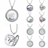 Tree Heart Love Mom Colorful Crystal Photo Frame Locket Pendant Necklace Jewelry