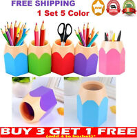 5X Pen Vase Pot Makeup Brush Holder Stationery Desk Container ABS Office Supplie