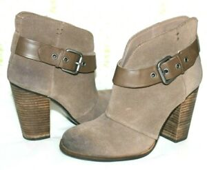 """❤️BCBG Paris Belted Burnt Taupe Suede 3.5"""" Heeled Ankle Boots 7 M GREAT! L@@K!16"""
