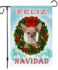 Chihuahua painting Christmas garden flag Feliz Navidad dog outdoor yard decor