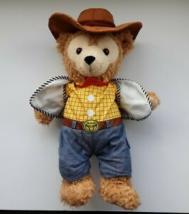 """Disney Parks 17"""" DUFFY THE BEAR Soft Toy in WOODY Outfit, With Hidden Mickey"""
