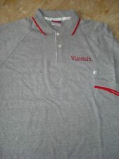 Wisconsin Badgers Embroidered Golf Polo Gray Red Shirt Cotton Blend Xl