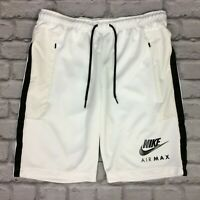 NIKE AIR MAX MENS SHORTS WHITE BLACK TAPE SPORTSWEAR GYM RRP £50 AD