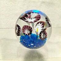 Art Glass Paperweight Flowers Floral