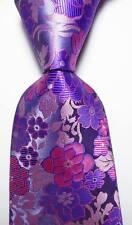 New Classic Floral Pink Blue Gray JACQUARD WOVEN 100% Silk Men's Tie Necktie