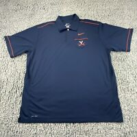 UVA Virginia Cavaliers Nike Dri-Fit Blue Polo Shirt Mens Size 2XL XXL