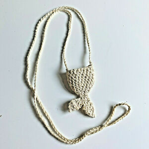 Vintage Knit Whales Fish Tail Necklace Cloth Kids Jewelry Pocket Beach Nautical
