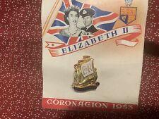 1953 Coronation Queen Elizabeth II Enameled Pin UNUSED ON ORIGINAL CARD England