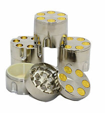 3 Part 40mm Bullet Herb Tobacco Grinder Metal Magnetic Pollinator Crusher