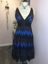 Size M Zara Blue Brown Zig Zag Chevron Silk Dress V Neck Sleeveless Summer Retro