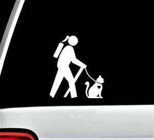 Hiker Girl Hiking with Cat Decal Sticker for Car Window BG 671