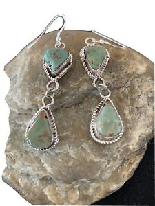 Green Handmade Navajo Royston TURQUOISE Sterling Silver Dangle Earrings 01499
