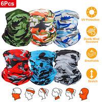 6Pcs Tube Bandana Scarf Neck Gaiter Head Face Mask for Cycling Hiking Fishing