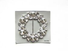 NWT WOMEN'S ROUND SILVER FLORAL SCARF RING, SLIDER WITH LARGE CLEAR RHINESTONES