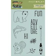 Photo Play Campfire Lakeside Clear Acrylic Stamp Set 11 Pc Squirrel Bear Fish