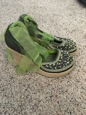 Vintage Espadrille shoes 6 m green Sequined beads Platform wedge Lace up
