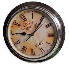 Aluminium Round Shape Steel Polish Victoria Wall Clock in 10 Inches.