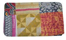 Ethnic Indian Print Kantha Quilt King Indian Cotton Bedspread Boho Throw Blanket