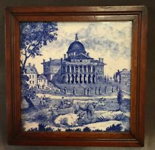 Ca 1818 Minton STATE HOUSE OF BOSTON Blue & White TILE Macullar Parker & Co