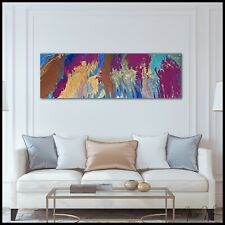 MODERN Original Abstract Canvas Wall Art Painting Framed Signed USA X Willis