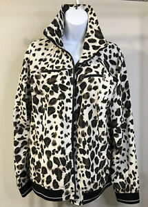 Vintage Zenergy by Chicos Leopard Cheetah Animal Print Zip Up Jacket Size 2