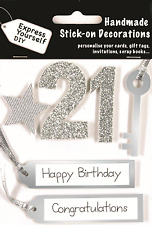 Silver 21st Birthday DIY Greeting Card Toppers Personalise Handmade Cards