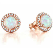 Ruropean Style Rose Gold Plated white Fire Opal Gemstone Stud Hook Earrings