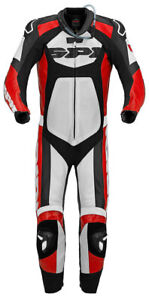 SPIDI TRONIK WIND PRO MOTORCYCLE LEATHER SUIT MENS BLACK RED WHITE euro 52