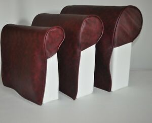 Oxblood Pair Faux Leather Queen Anne Style Antimacassar Chair Arm Cap Protectors